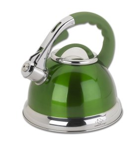 Modern  Stainless Steel Teapot Whistling Tea Kettle - Green 3.2 Quart - Le Juvo