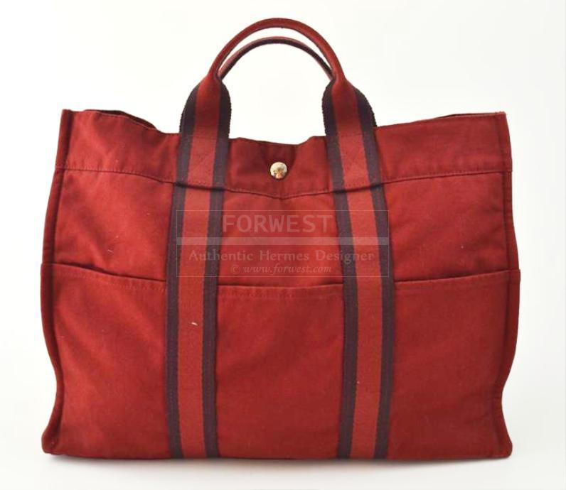 Hermes_Fourre_Tout_MM_Red_Stripes_Canvas_Large_Tote_Bag