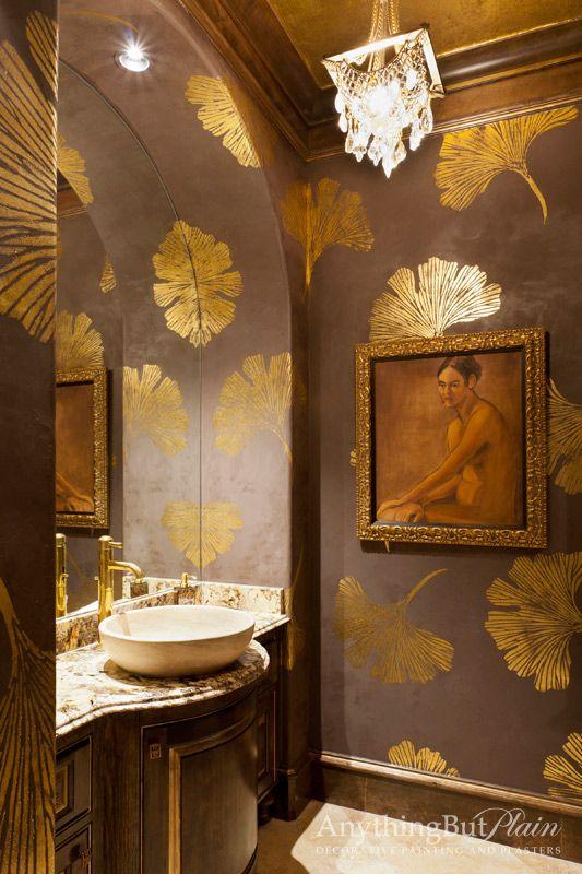 metallic wallpaper for half bath - photo #29