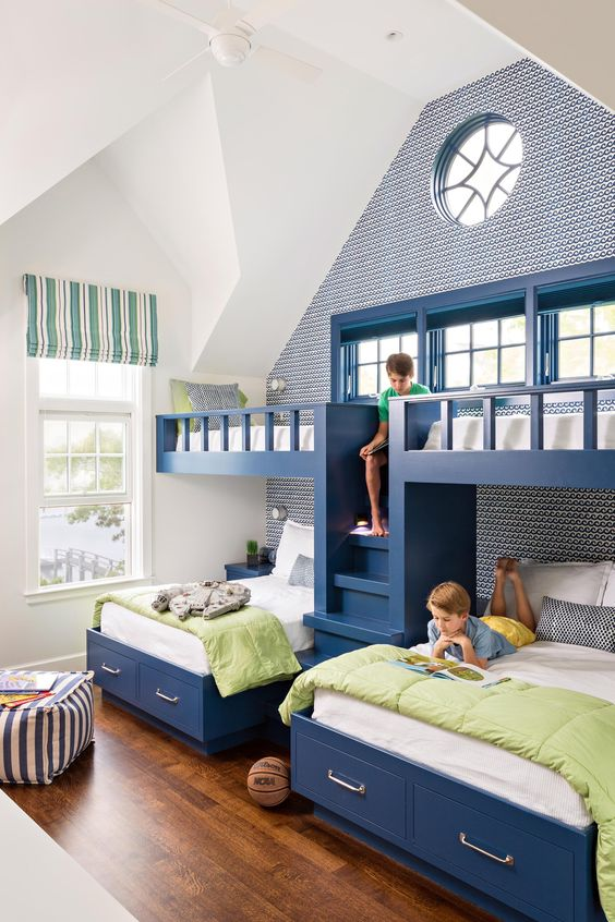 The Most Common Size For Bunk Beds Is A Twin, But Many Come In Double And  Queen Sizes. Here They Have Custom Storage Units.